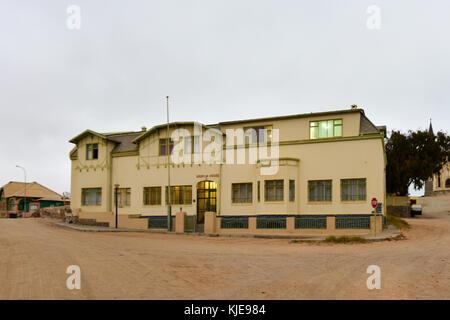 German style building - Kreplin House in Luderitz, Namibia - Stock Photo