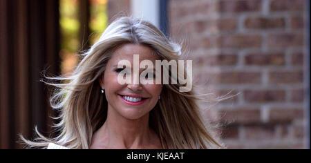 NEW YORK, NY - JUNE14: Model Christie Brinkley looks amazing in stripes in Tribeca  on June 14, 2016 in New York City.  People:  Christie Brinkley