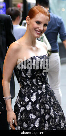 NEW YORK, NY - APRIL 06: Actress Jessica Chastain leaves her midtown Manhattan apartment on the way to the CFDA - Stock Photo