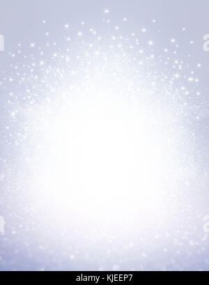Glitters and stars exploding on a shiny silver background - Festive material - Stock Photo