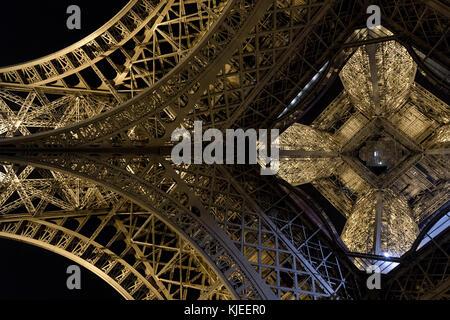 Eiffel tower seen from below - Stock Photo