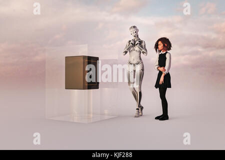 Robot woman and girl watching safe in cube - Stock Photo