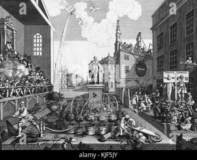 Engraving on paper, titled 'The Times, Plate 2', depicting a statue of King George III, water is drawn from this - Stock Photo