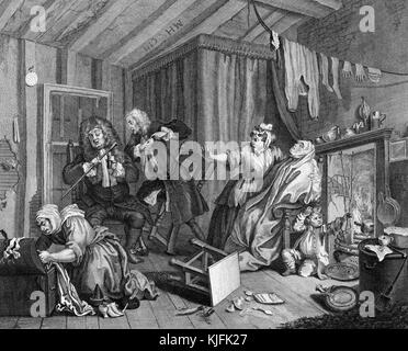 Engraving on paper, titled 'A Harlot's Progress, Plate 5, Moll dying of Syphillis', doctors argue over their medical - Stock Photo