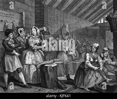Engraving on paper, titled 'A Harlot's Progress, Plate 4, Moll beats hemp in Bridewell Prison', she beats hemp for - Stock Photo