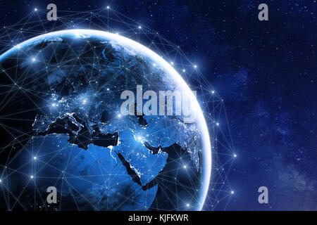 Global communication network around planet Earth in space, worldwide exchange of information by internet and connected - Stock Photo