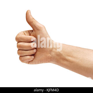 Man's hand showing thumb up - like sign, isolated on white background. Close up. Positive concept. High resolution - Stock Photo