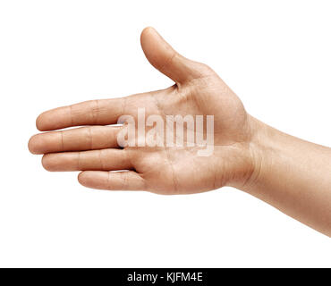 Man's hand outstretched in greeting isolated on white background. Close up. High resolution product - Stock Photo