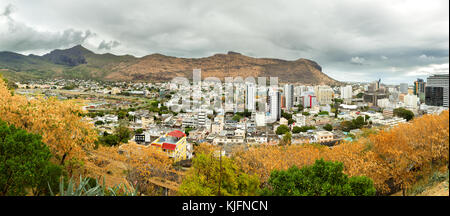 Panoramic view over Port Louis, the capital of Mauritius, Africa, on a cloudy day. - Stock Photo