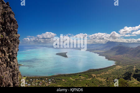 View from Le Morne Brabant onto the coast near La Gaulette at the south coast of Mauritius, Africa. - Stock Photo