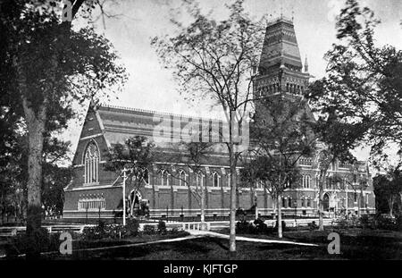 An exterior view of Memorial Hall at Harvard University, construction of the High Victorian Gothic building was - Stock Photo