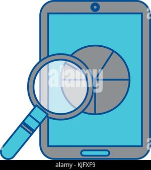 pie graph chart on cellphone screen icon image  - Stock Photo