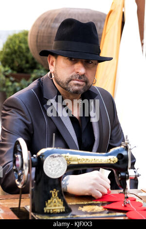 The singer El Barrio attends the presentation of his album 'Las Costuras del Alma' in Madrid, Spain.  Featuring: - Stock Photo