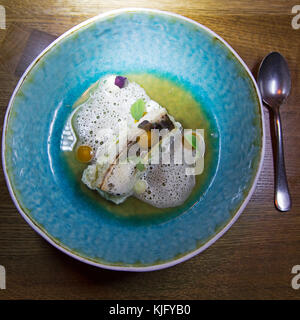 Red snapper served at Brasserie Midi in Groningen, the Netherlands - Stock Photo