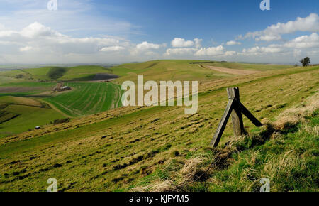 Tan Hill (centre of image - 294m), seen from the side of Milk Hill (295m), the two highest hills in Wiltshire. - Stock Photo