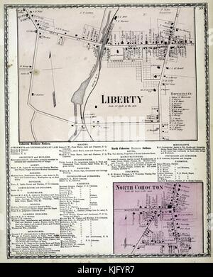 Engraved map image from an atlas, with original caption reading 'Liberty Village, Cohocton Business Notices, North - Stock Photo