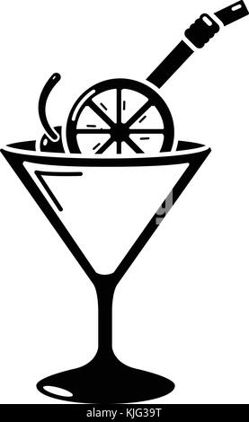 Cocktail icon, simple black style - Stock Photo