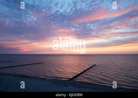 Germany, Mecklenburg-Vorpommern, Nienhagen, evening sky above the Baltic Sea - Stock Photo
