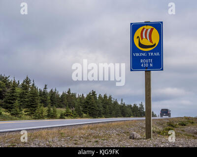 Road sign, Highway 430, the Viking Trail, Newfoundland, Canada. - Stock Photo
