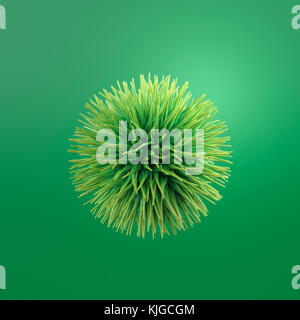 Hairy green ball, 3d rendering - Stock Photo