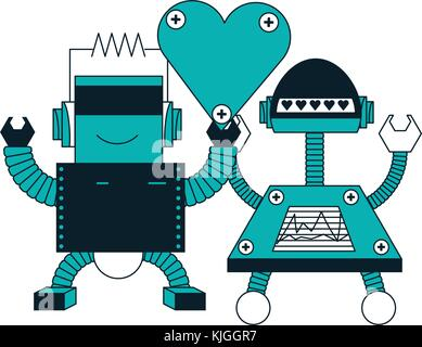 robots couple icon - Stock Photo