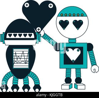 robots couple icon - Stock Photo