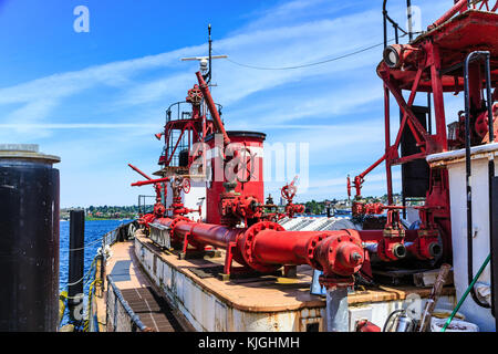Red Pipes on Old Fireboat - Stock Photo