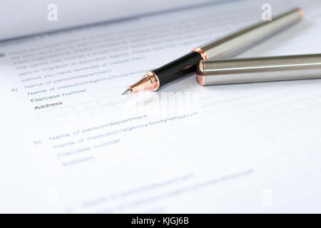 Application form concept for applying for a job, finance, loan, mortgage or a claim form - Stock Photo