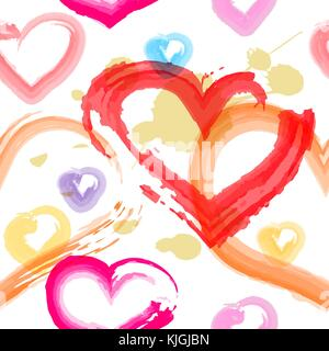 Seamless backround with hearts in watercolor style. Vector illustration. - Stock Photo