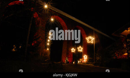 Christmas market at Ravenna Bridge, Black forest, Germany - Stock Photo
