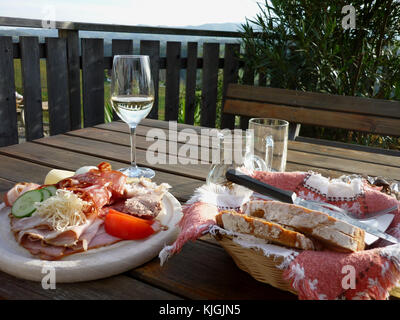 Austrian meal (Brotzeit) - Styrian Wine route (Steirische Weinstraße) - Stock Photo