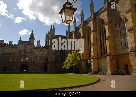 Oxford, United Kingdom - May 18, 2015: Front Quad at New College - Stock Photo