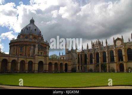 Oxford, United Kingdom - May 18, 2015: North Quad at All Souls College and Radcliffe Camera - Stock Photo
