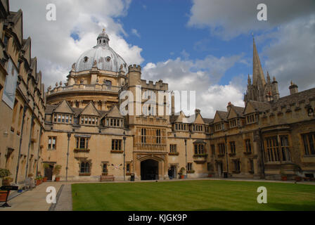 Oxford, United Kingdom - May 18, 2015: Old Quad at Brasenose College and Radcliffe Camera - Stock Photo