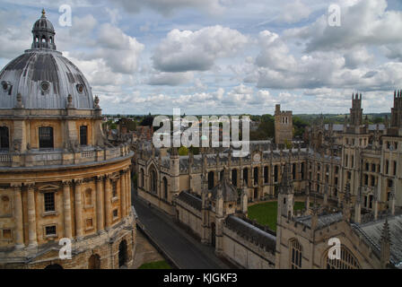 View of Radcliffe Camera and All Souls College from University Church, Oxford - Stock Photo