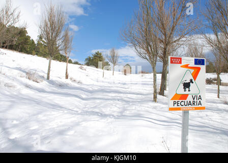 Snow covered landscape. Bustarviejo, Madrid province, Spain. - Stock Photo