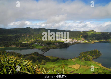 View of Sete Cidades, Lagoa Verde and Lagoa Azul in Sao Miguel, Azores, Portugal - Stock Photo