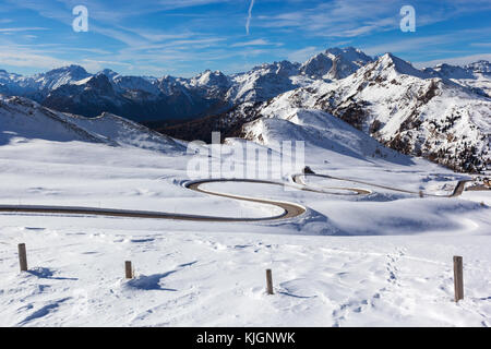 snow landscape of Passo Giau, Dolomites, Italy - Stock Photo