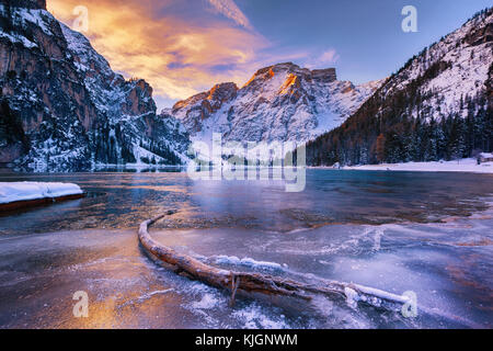 winter sunrise over Lago di Braies, Dolomites, Italy - Stock Photo