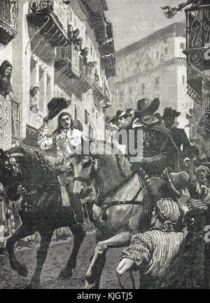 Public reception of Prince Charles in Madrid, Spain, 1623. Prince of Wales and future King Charles I - Stock Photo