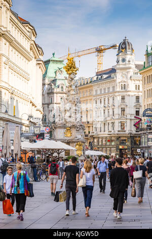 VIENNA, AUSTRIA - AUGUST 28: People in the pedestrian Area of Vienna, Austria on August 28, 2017. Foto with view - Stock Photo
