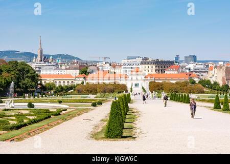 VIENNA, AUSTRIA - AUGUST 29: People in the garden of the Belvedere palace in Vienna, Austria on August 29, 2017. - Stock Photo