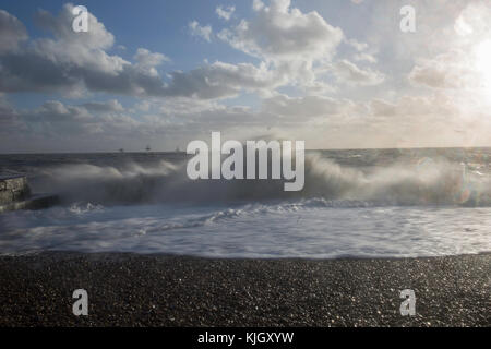 Sea batters Brighton Beach as the city starts to feel the effects of the bad weather affecting much of the UK. November - Stock Photo