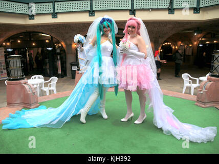 London, UK. 24th Nov, 2017. Hyper Japan Christmas 2017 open its doors in Tobacco Docks, to all things Japanese, from cultural performances, the always sought after Manga magazines, traditional food, the world famous Japanese drink Saki and a host of calligraphy, pop, cosplay, mascots, and Ukiya, pictures of the floating world so characteristic Japanese Credit: Paul Quezada-Neiman/Alamy Live News Stock Photo