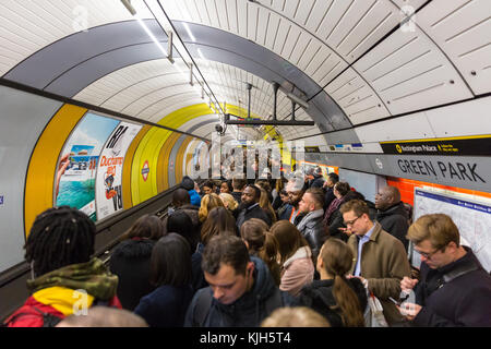 London, UK, 24th Nov 2017. Green Park Underground Station platforms are dangerously overcrowded with confused passengers waiting, following a security incident at Oxford Street Tube station earlier on. Credit: Imageplotter News and Sports/Alamy Live News Stock Photo