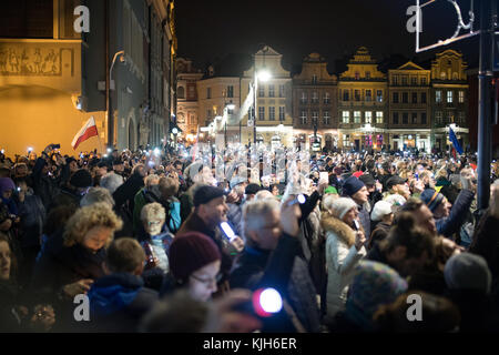 Poland, Poznan, 11.24.2017: Lights for judiciary - protest against violation the constitutional law in Poland, by - Stock Photo