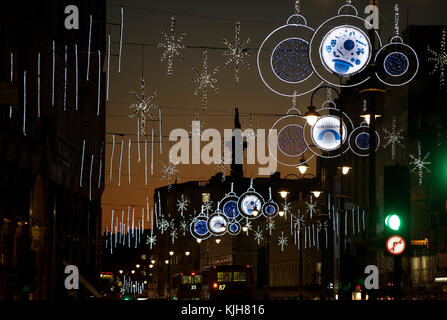 London, UK. 24th Nov, 2017. London, England UK. Christmas lights decorations on the Strand in central London looking towards Nelson's Column in Trafalgar Square at dusk. 24 November 2017 Credit: BRIAN HARRIS/Alamy Live News Stock Photo