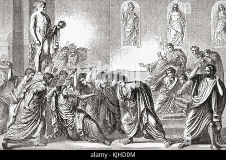 The murder of Julius Caesar, 44 BC.  Gaius Julius Caesar, 100 - 44 BC, aka Julius Caesar. Roman politician and general. - Stock Photo