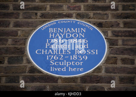 london county council blue plaque marking homes of painter benjamin haydon and sculptor charles rossi - Stock Photo