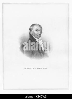 Engraved portrait of James Thacher, an American physician and writer, from 1775 to 1783 he was a surgeon in the - Stock Photo